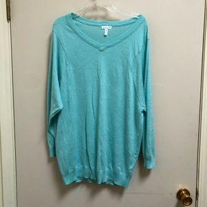 LEITH small teal v neck sweater oversized